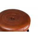Taburete de piel marrón Sol con estructura negra