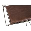 Taburete Estructura dorada Varilla con asiento de piel marrón