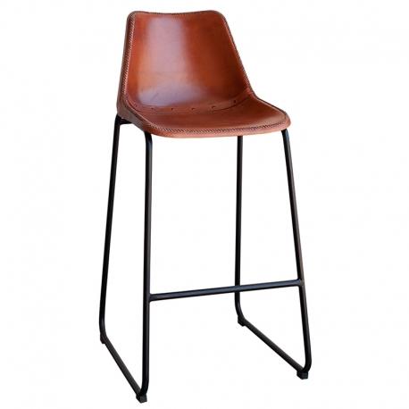 Taburete de piel marrón para bar con estructura negra
