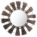 Espejo de pared con forma de rueda de madera y metal
