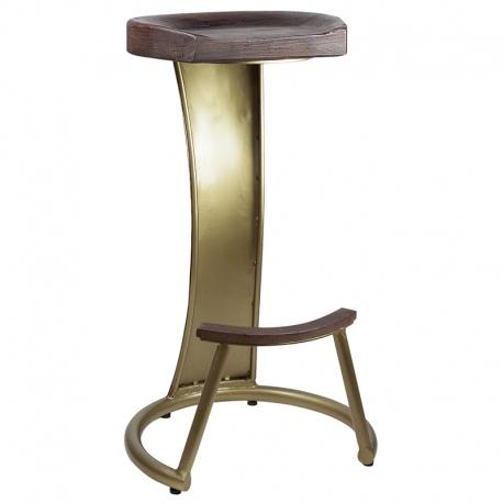 Taburete de bar de estilo industrial con estructura dorada y asiento en madera maciza Kinjal