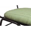 Silla de comedor de diseño con tapizado verde con forma de Espiga y estructura metálica