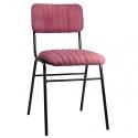 Silla comedor con tapizado espiga color rosa, verde o mostaza y estructura negra.