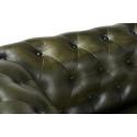 Sofá de piel marrón Walter con capitoné y ruedas metálicas