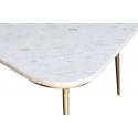 Mesa de Centro con mármol blanco y estructura dorada con aire Art Deco