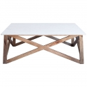 Mesa Centro con sobre de mármol blanco y estructura de madera  Hamptons