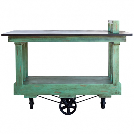Carro Camarera de Madera y Pintado en Verde Turquesa con Ruedas Industriales