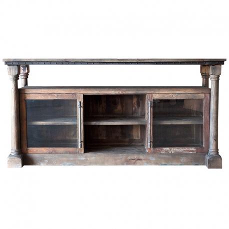 Aparador de madera con huecos para almacenar Ampordán, con madera envejecida