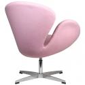 Sillón Réplica Swan giratorio con pie cromado y tapizado en lana color rosa palo