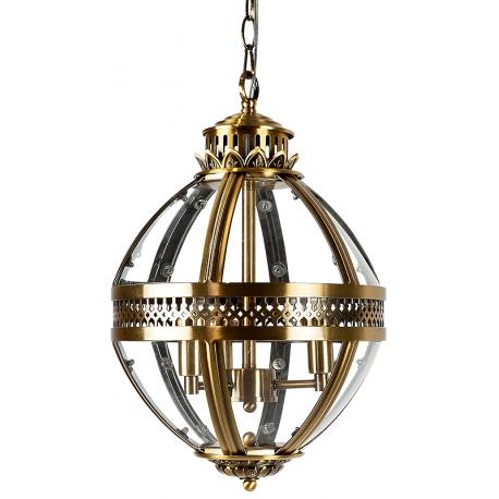 Lámpara colgante de cristal con forma ovalada Aspen y toques dorados