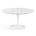 Mesa de comedor de mármol color blanco diseño pie central Tulip