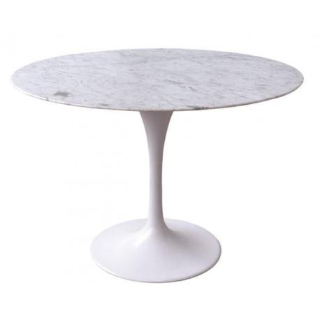 Mesa de comedor de mármol blanco con diseño de pie central tulip