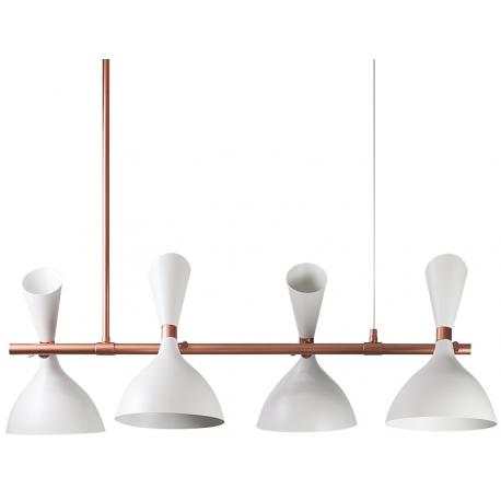Lámpara colgante blanca con 4 cabezas orientables
