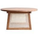 Mesa de madera de teka Chandi con rejilla de fibras naturales
