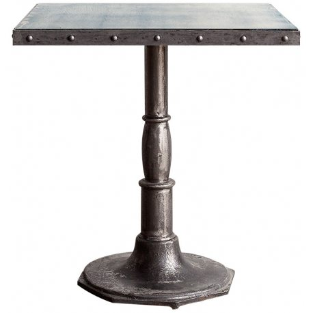 Mesa vintage de café con sobre de Espejo 70x70cm y pie de metal