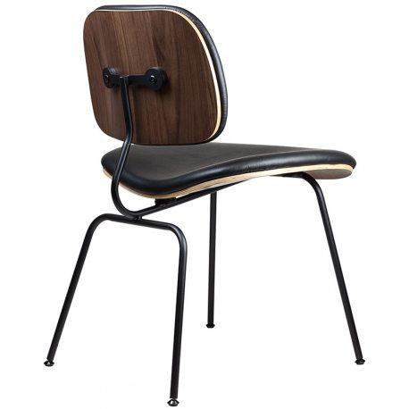 Silla de Comedor Réplica DCM Eames Black con asiento y respaldo en piel auténtica