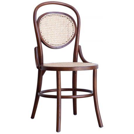 Silla de Madera de comedor estilo francés con asiento y respaldo de Rejilla