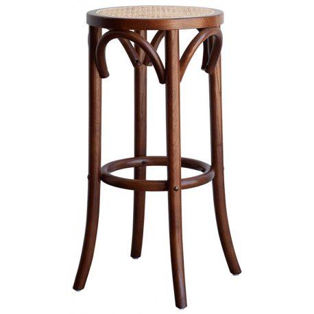 Taburete de bar clásico en madera con asiento en rejilla