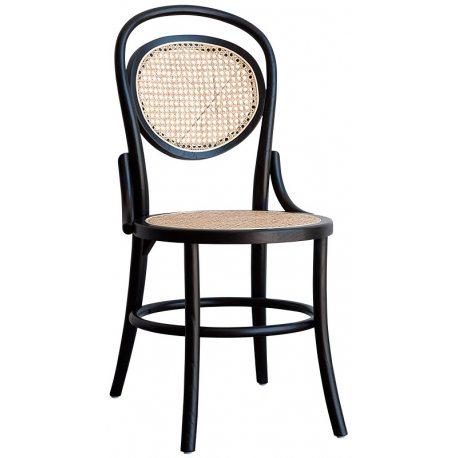 Silla de comedor realizada en Madera Negra con asiento y respaldo de Rejilla