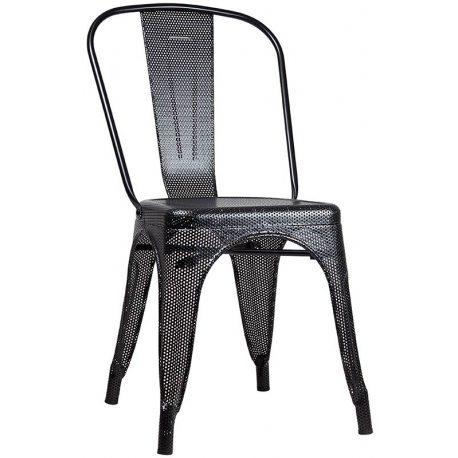 Silla Industrial Perforada metálica de color negro Mesh estilo tolix