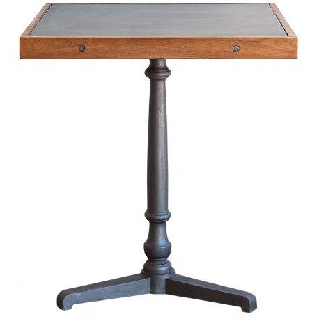 Mesa de comedor cuadrada 65x65 de pie central y sobre de chapa