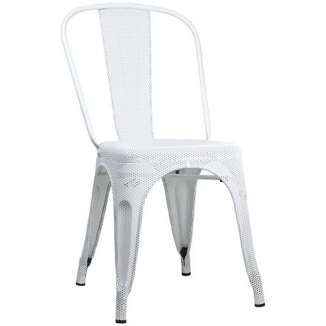 Silla Industrial Perforada metálica de color blanca Mesh estilo tolix