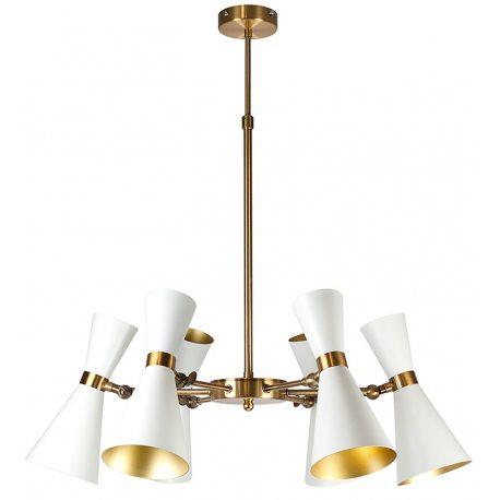 Lámpara colgante blanca y dorada con pantallas orientables
