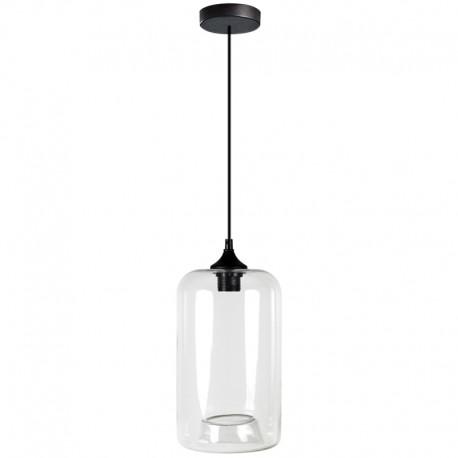 Lámpara colgante de cristal transparente en forma tubo diseño Pyles