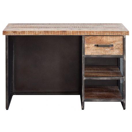 Escritorio para trabajar o estudiar con cajón de madera y estantes, de estilo industrial