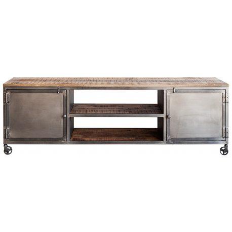 Mueble Televisión Estilo Industrial elaborado con acero acabado natural y madera envejecida