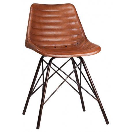Silla de comedor tapizada en piel auténtica color marrón y estructura metálica con forma de torre