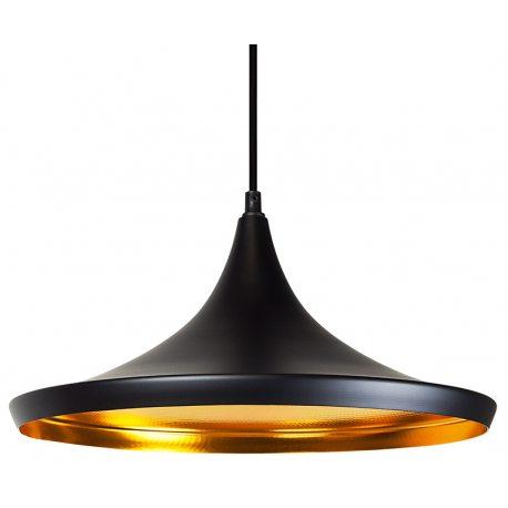 Lámpara colgante réplica beat shade negra y dorada wide