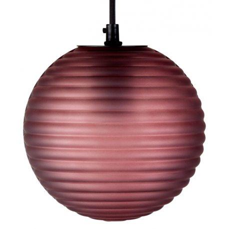 Lámpara Colgante con forma de Bola en color burdeos y cristal labrado