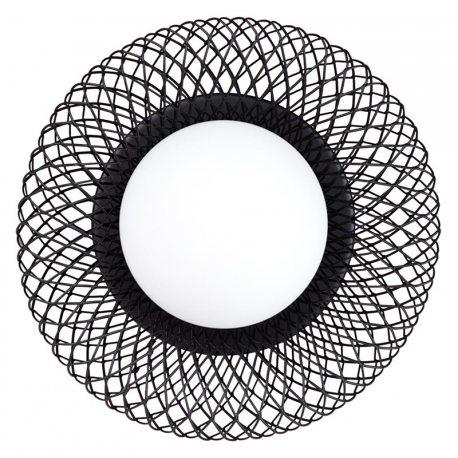 Aplique de pared con forma de red metálica negra y globo