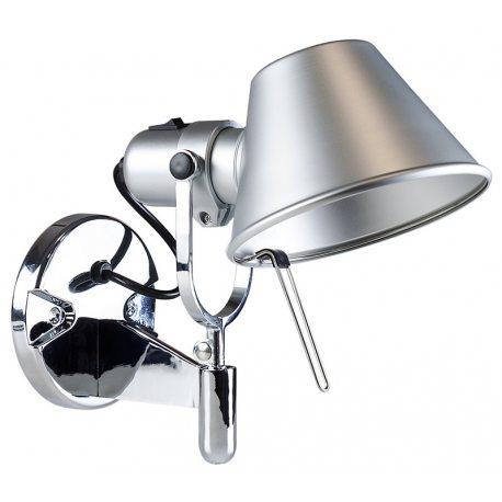 Aplique diseño Tolomeo de1 brazo orientable sencillo color plata