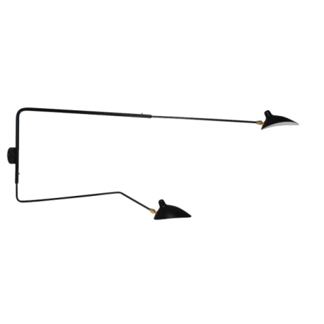 Aplique Serge XL de 2 brazos orientables en color negro