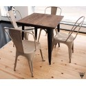 Mesa estilo tolix de madera y acero lacado negro