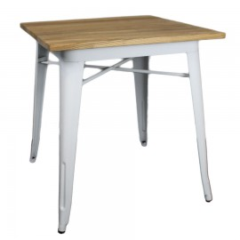 Mesa Steel Wood Table S Blanca