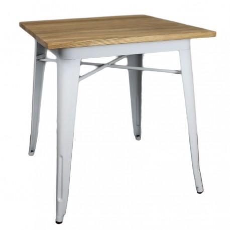 mesa de acero blanco y madera para negocios de hostelería
