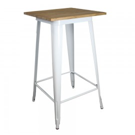 Mesa Steel Wood Table Blanca