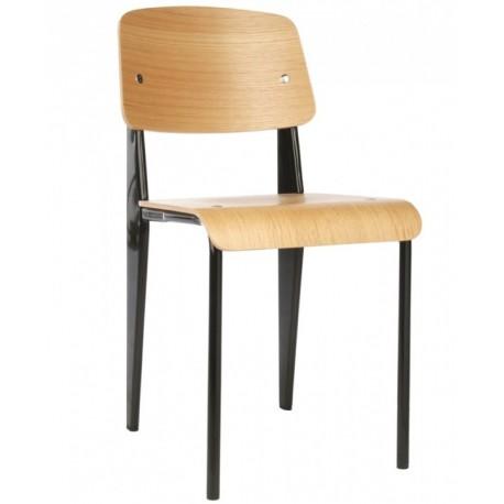 Silla de diseño Réplica Jean Prouvé Standard con asiento y respaldo en madera y estructura negra