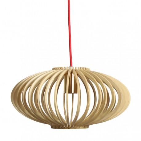Lámpara de madera con cable rojo