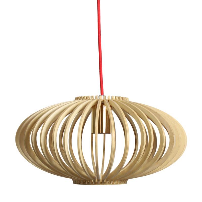 L mpara de madera con cable rojo - Lampara de techo de madera ...