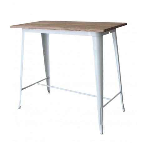 Mesa alta cocina estilo tolix industrial de acero lacado blanco y sobre de madera