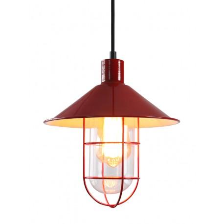 Lámpara colgante roja estilo barco industrial