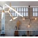 Lámpara de techo con brazos y globos de cristal transparente Lindsey