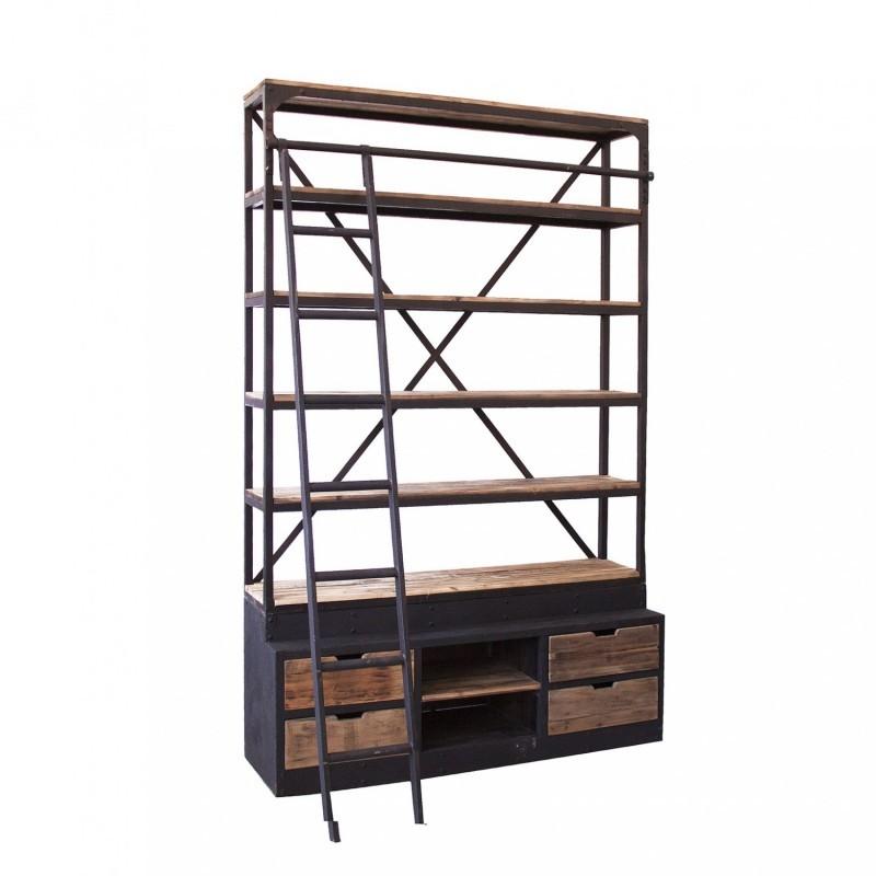 Estanteria libreria con escalera singular market - Estanterias para librerias ...