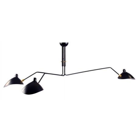 Lámpara Serge de techo negra con 3 brazos