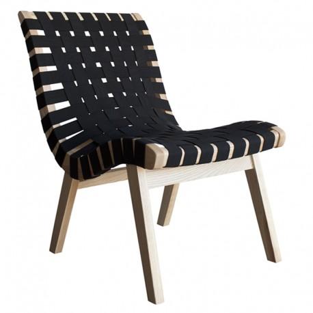 Silla de madera con reposapies con elástico color negro