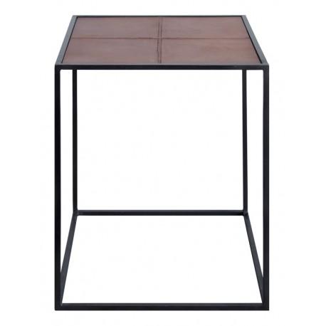 Mesa auxiliar de piel marrón estructura metálica negra